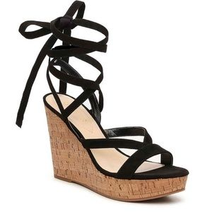 Guess Lace Up Ankle Cork Wedge Heel Sandal